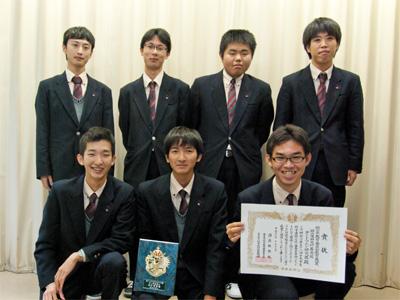 岡山県教育委員長賞受賞式でのテントウムシ研究隊です